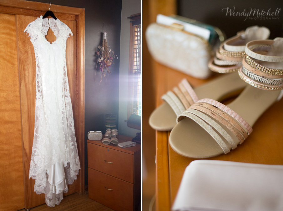Bride's dress and sandals | Buffalo Wedding Photography | Wendy Mitchell Photography