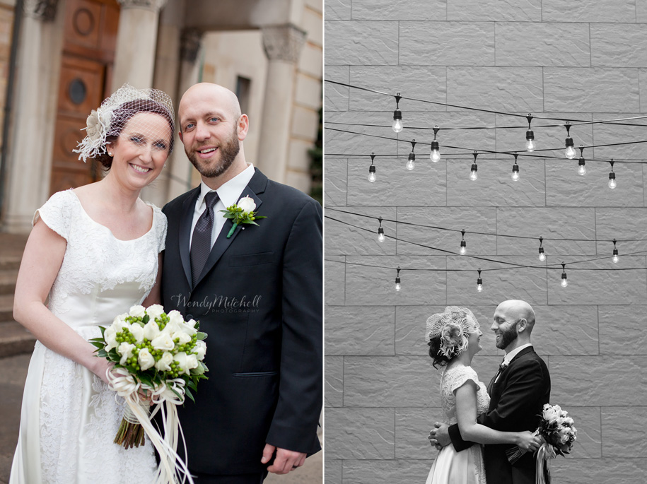 Bride & Groom in Greenhouse Room Courtyard at Hotel Lafayette | Buffalo Wedding Photography | Wendy Mitchell Photography
