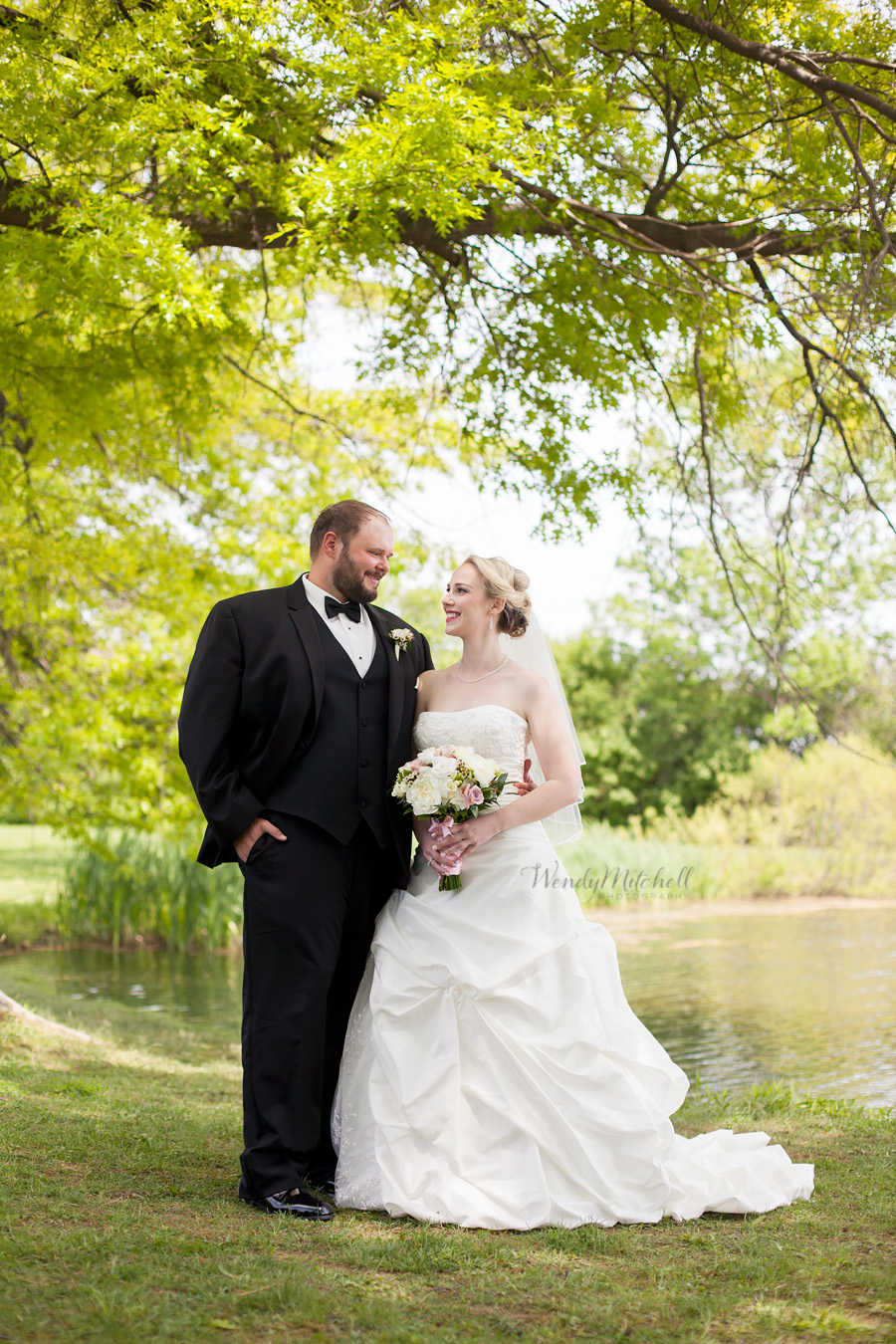 Bride & Groom smiling at each other by pond at Knox Farm State Park | Buffalo Wedding Photography | Wendy Mitchell Photography