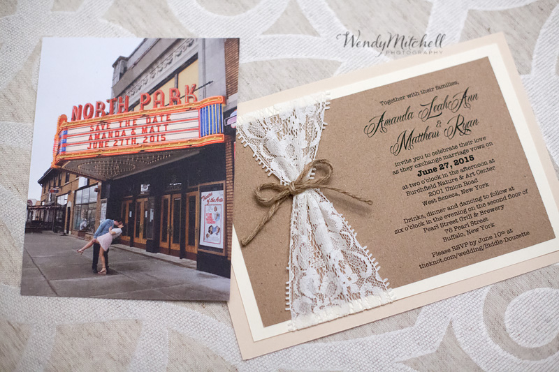 Save the Date and Lace wedding invitation