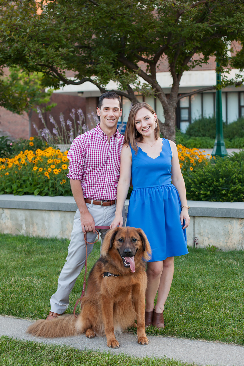 Engaged couple with their dog at SUNY Geneseo campus | Wendy Mitchell Photography
