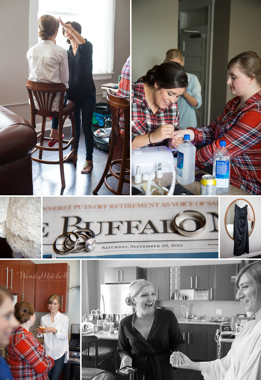 Bride and bridesmaids getting ready in suite at Hotel Lafayette | Buffalo Wedding Photography | Wendy Mitchell Photography