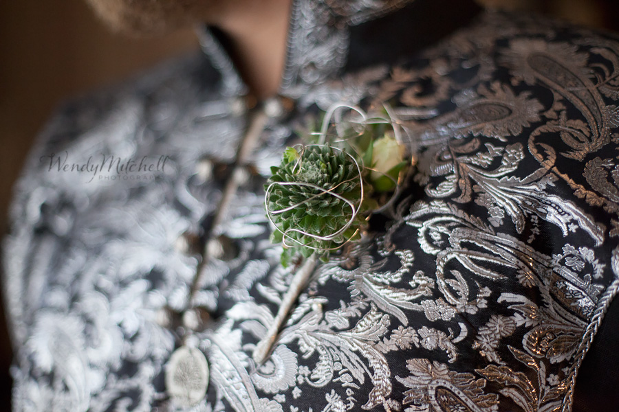 Wire wrapped succulent boutonniere | Buffalo Botanical Gardens Wedding | Wendy Mitchell Photography