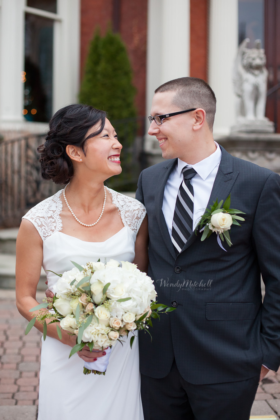 Bride & Groom smiling at each other | Mansion on Delaware | Wendy Mitchell Photography