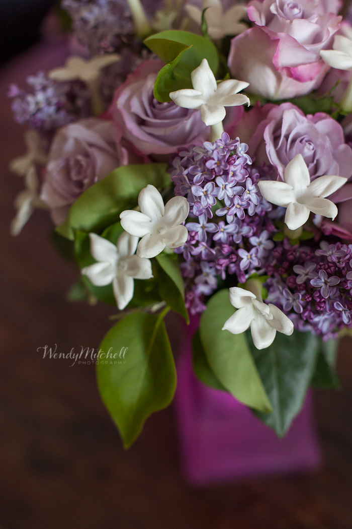 Woyshner's bouquet with lilacs, roses, and stephanotis | Buffalo Wedding Photography | Wendy Mitchell Photography