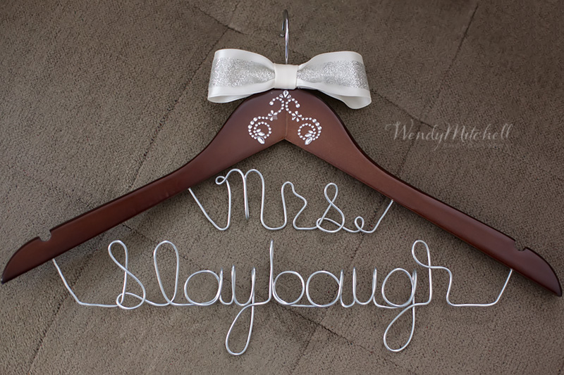 Personalized wooden hanger | Buffalo Wedding Photography | Wendy Mitchell Photography