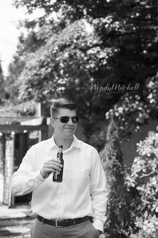Groom with a beer | Chautauqua Lake Wedding | Wendy Mitchell Photography
