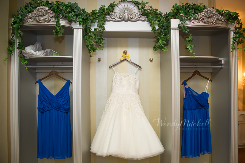 Dresses hanging in the bridal suite   Avanti Mansion Wedding Photography   Wendy Mitchell Photography