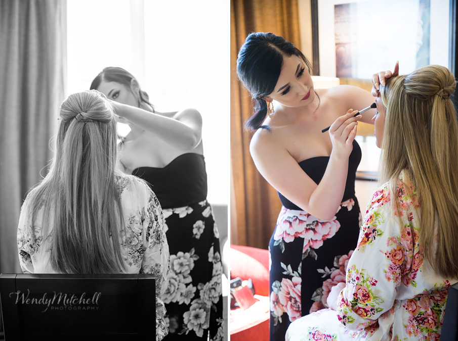 Bride getting makeup done in hotel room | Buffalo Wedding Photography | Wendy Mitchell Photography