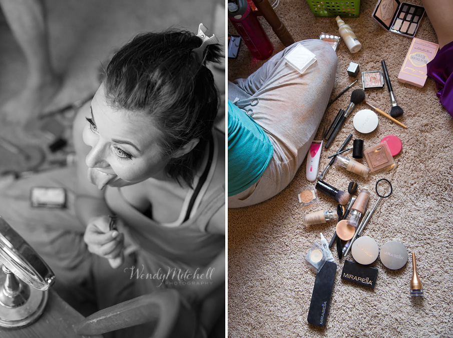 Bridesmaid doing her makeup | Buffalo Wedding Photography | Wendy Mitchell Photography