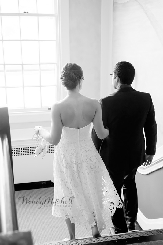 Bride & Groom walking down stairs   Buffalo Wedding Photography   Wendy Mitchell Photography
