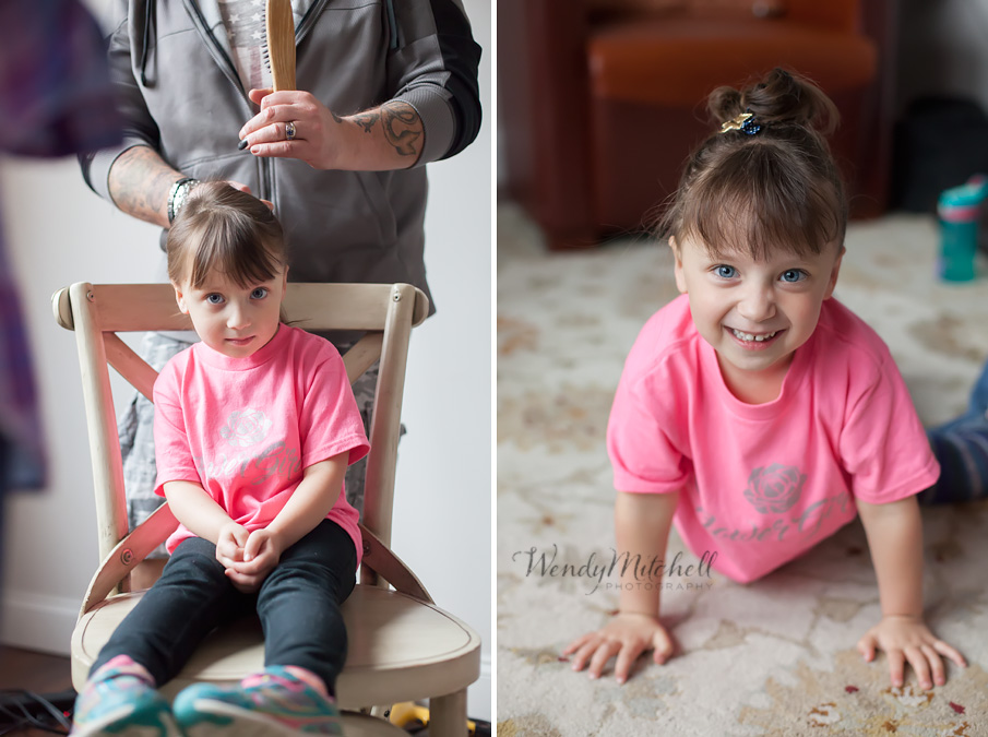 Flower girl getting her hair done | Buffalo Wedding Photography | Wendy Mitchell Photography