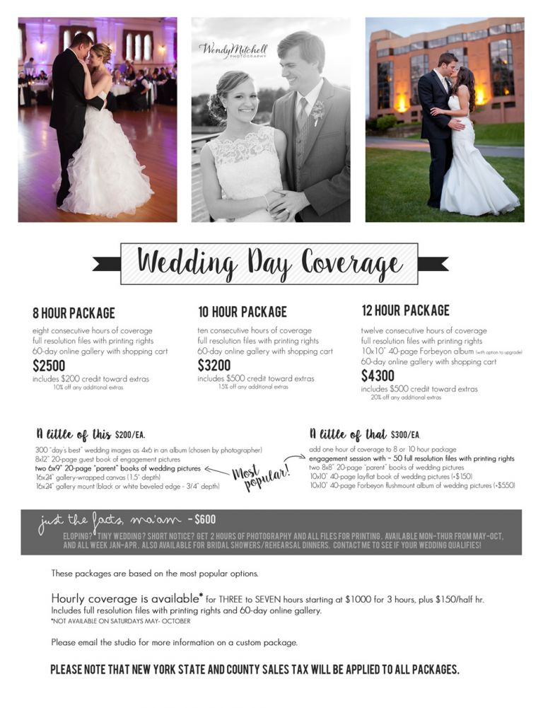 Wedding Photography Packages.Wedding Prices Wendy Mitchell Photography Buffalo Wedding